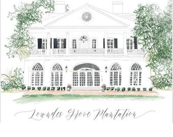 Wedding Venue Invitation, Wedding Venue Watercolor, Drawing from photo, wedding venue invites