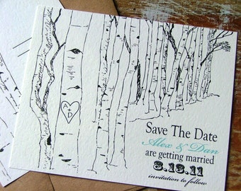 Save the date cards, tree saves the date, rustic save the date, birch tree