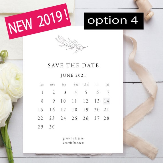 Calendar Save The Date Template Modern Save The Date Cards Etsy