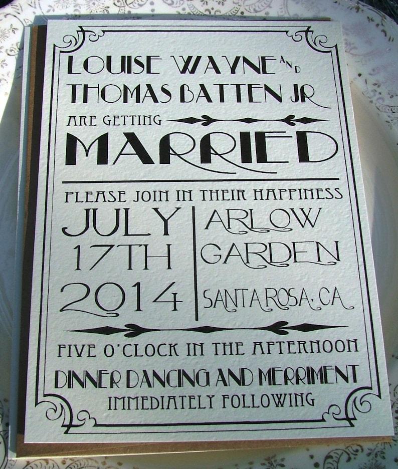 Art Deco Wedding Invitations Great Art Deco Hollywood Black Etsy