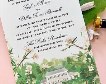 Custom Wedding Venue Watercolor, Wedding Venue Invitation, watercolor venue invite, watercolor wedding - deposit