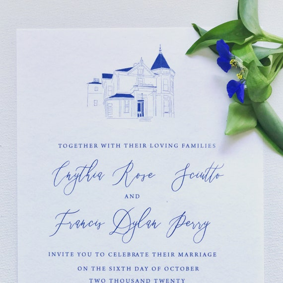 Venue Location Sketch Custom Wedding Invitation Hand Drawn | Etsy