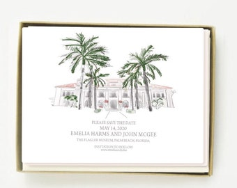 Illustrated Save the Dates, Custom Wedding Venue Save the dates, Watercolor Save Our Date, Custom Wedding Venue Drawing, Custom Illustration