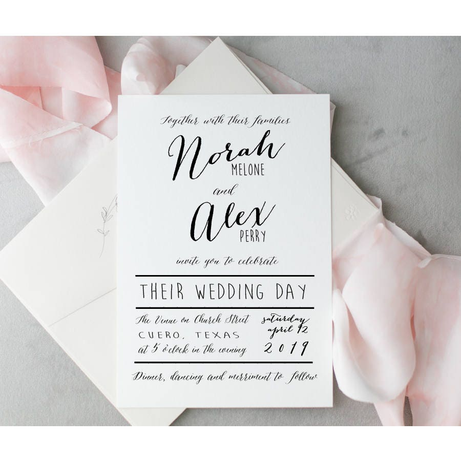Modern Calligraphy Script Wedding Invitation Simple Modern
