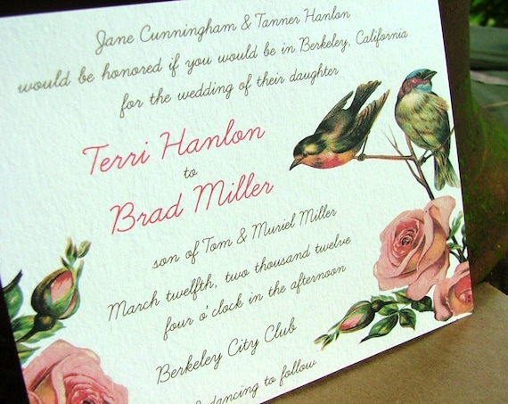 Bird Wedding Invitation: Vintage Birds Wedding Invitation VIntage Invitation Pink