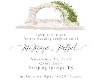 Watercolor Venue Location, Custom Watercolor Invitation, Hand Drawn Wedding Invitations, Save the dates