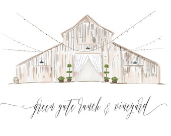 Watercolor Wedding Venue, Illustrated Wedding Invitation , Custom Venue Save the Date, Custom Illustration, Venue Sketch, Best Selli