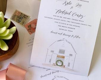 Watercolor wedding venue drawing, Painted Invitation, Venue Illustration, Custom Illustration - deposit to begin