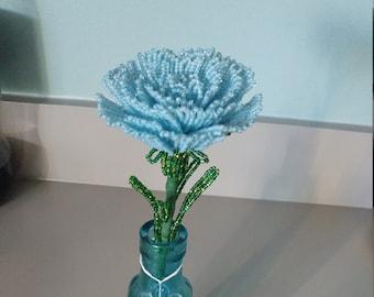 Blue carnation handmade french beaded flowers