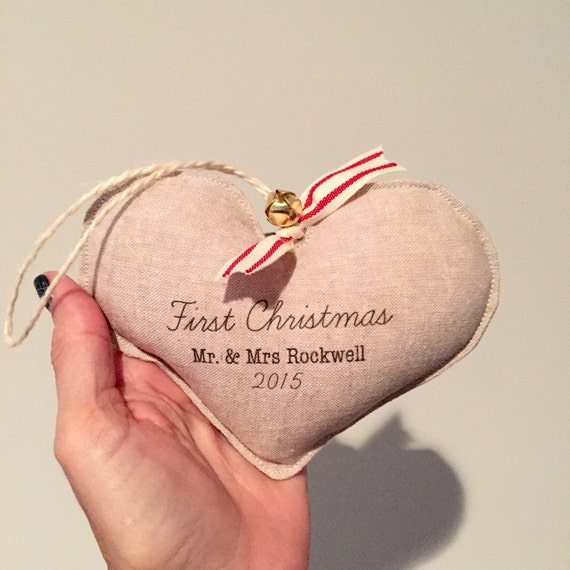 FIRST CHRISTMAS - Engaged or Married.  Couples first Christmas ornament. Personalized. Linen heart ornament. New marriage.