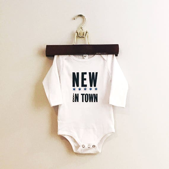 Chicago. New In Town. CHICAGO theamed baby onesie. hand printed baby onesie. Screenprint baby bodysuit
