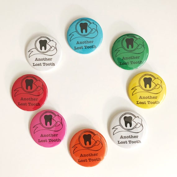 """Lost tooth button. Button and Lost Tooth Pouch. pin button. 2 1/4"""" button. Choose your color."""