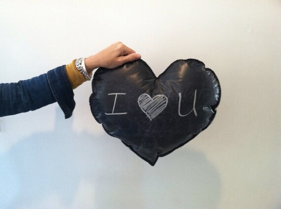 valentine's day chalkboard heart photo prop for weddings. save the date. chalkboard heart pillow.