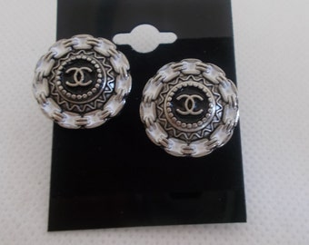 Black, White and Silver metal Aztec Design Stud Button Earrings Handmade