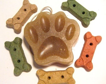 Vegan all natural herbal oatmeal Dog Soap on a rope