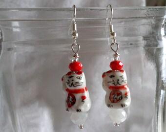 Maneki Neko Lucky White Cats Earrings
