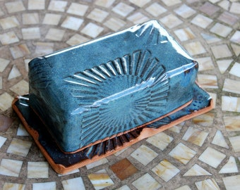 Covered Butter Dish in Slate Blue with Rising Sun Texture - Made to Order