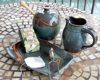 Slate Blue Creamer And Sugar Jar Set with Tray - Made to Order