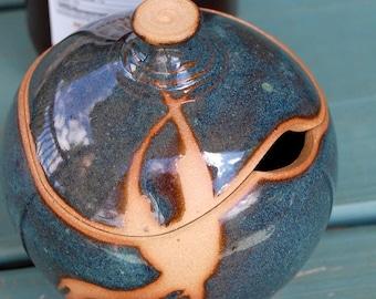 Sugar Bowl / Honey Jar in Slate Blue and Rust