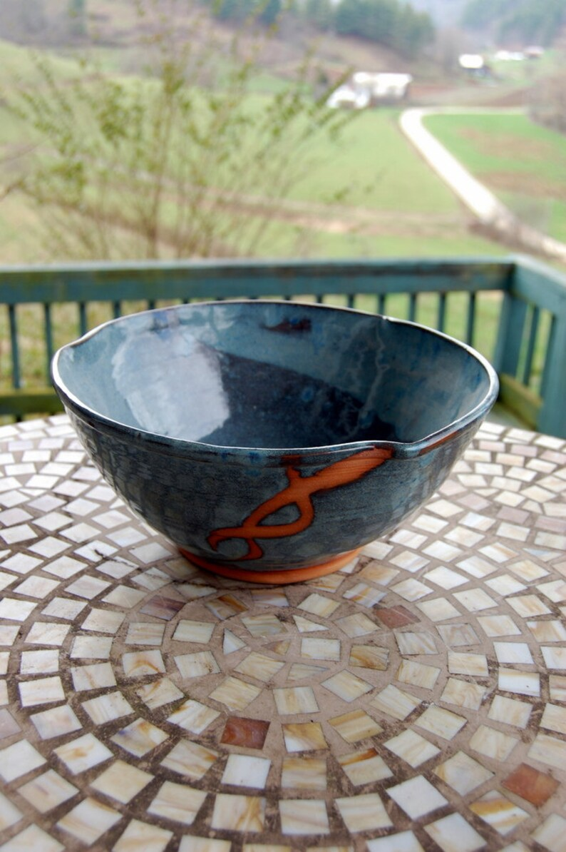 Large Serving Bowl in Slate Blue and Rust Chain Made to Order