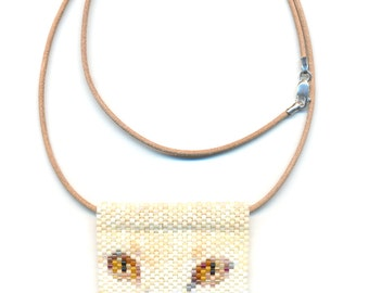 White Cat Face Peyote Beaded Necklace