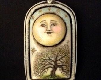 Moon tree scrimshaw technique resin pin