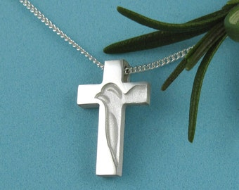 Holy Spirit Cross Necklace, Small Peace Dove Cross Pendant with Chain, Baptism Communion Confirmation Gifts, Christian Religious Crosses