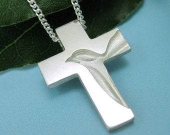 Silver Dove Cross, Holy Spirit Cross Necklace, Peace Dove Cross Pendant with Chain, Christian Crosses for Family, from our Spiritus Jewelry
