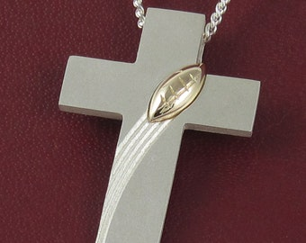 """Large Cross with Football in Solid Silver and Gold, """"TouchDown"""" Cross with 30"""" Chain, Mens Sports Cross, Engraved Player Number, Guy Crosses"""