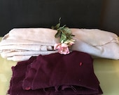 Light and medium lavender, maroon felted wool fabric pieces for penny rugs, rug hooking, applique, quilting, crafts, 1 13 ounces, set no 1