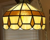 Slag glass hanging light fixture pendant light in beige and gold vintage, retro lighting, 1970s to 1980s era lighting