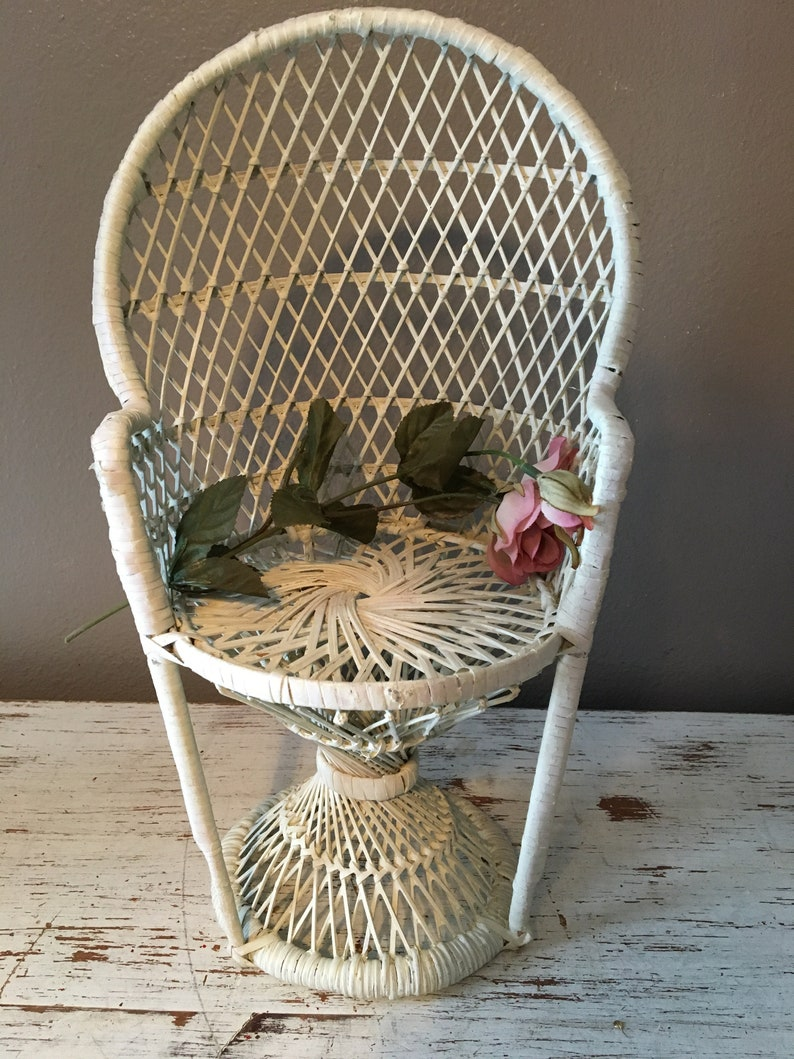 White Wicker High Back Chair For Dolls Vintage Toys Vintage Doll Furniture Pedestal Chair