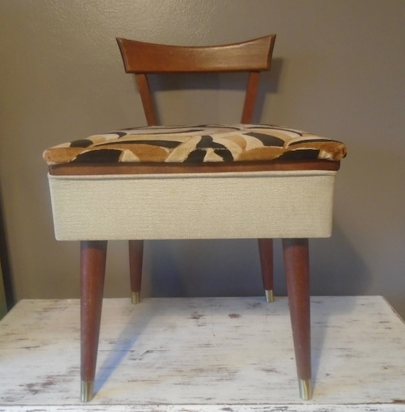 image 0 - Mid Century Danish Modern Wooden Sewing Chair With Storage In Etsy