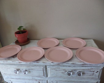 Vintage pink melmac Mallo Ware  9 1/2 inch dinner plates, set of 6 plates, some minor imperfections