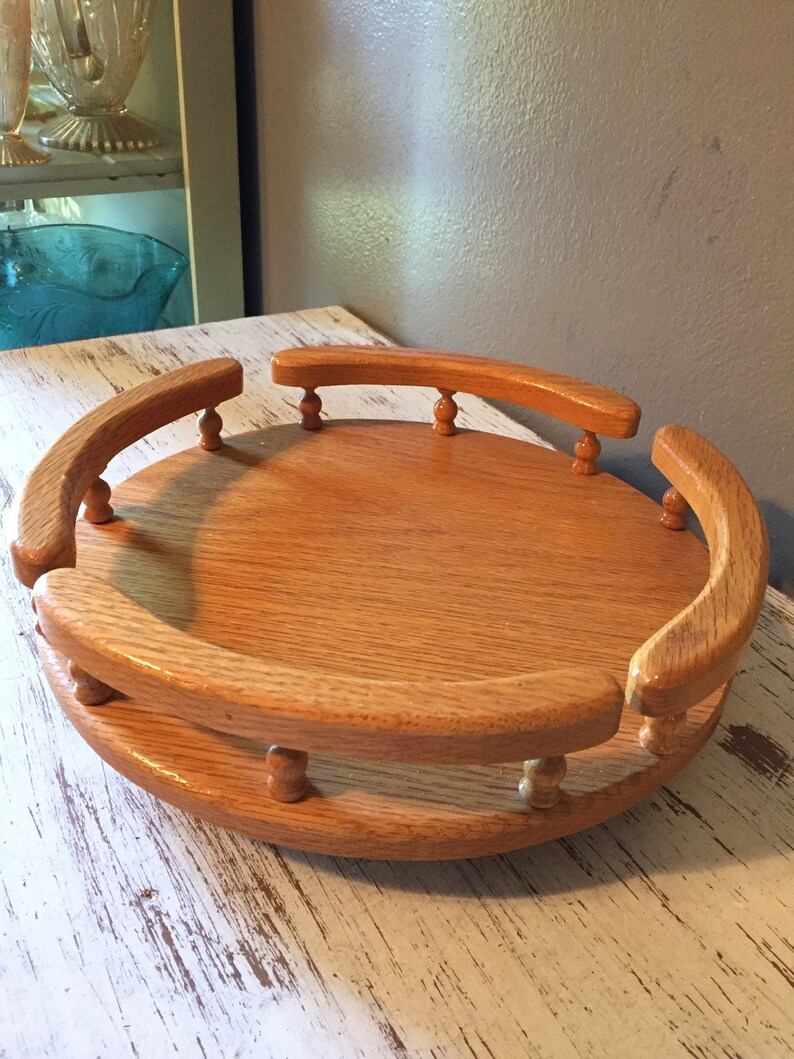Small Vintage Oak Table Top Lazy Susan With Rails And Etsy