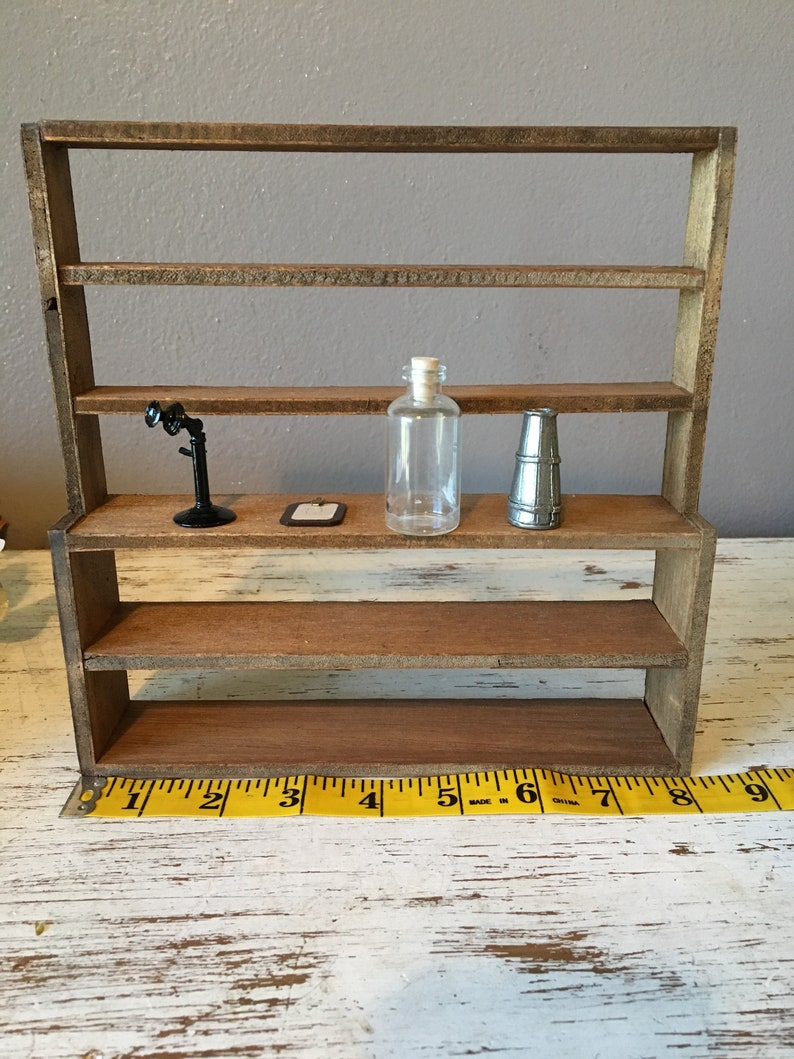 Miniatures Wooden Doll House Furniture Accessories General Store Shelving Display Unit With Telephone Clipboard Jar And Urn