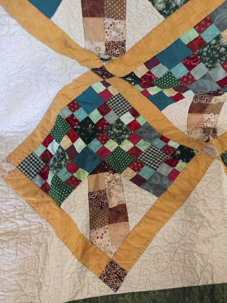 Under The Apple Tree scrappy quilt  patchwork quilt in greens red gold  quilt wall hanging  small quilted throw