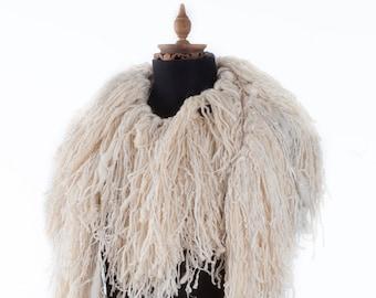 Super Chunky Scarf - Neckwarmer - Winter Accessory - Fashion Scarf - Boa Lion - Extra Long Scarf - Thick Scarf - Women Scarf - Cream Scarf