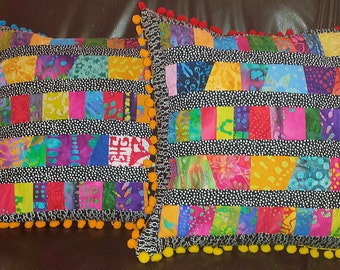 Gypsy Boho Patchwork Batik Pillow Cover 16 inch