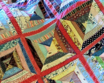 Beautiful Vintage Silk and Rayon Embroidered Patchwork Coverlet Mid Century Fabrics