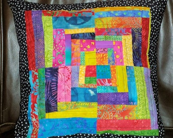 Gypsy Batik Patchwork Quilted Boho Pillow Cover 16 inch