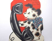 Vintage Children 39 s Novelty Valentine Greeting Card with Little Dog on Old Fashioned Rotary Telephone or Phone by Hallmark