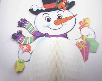 Honeycomb snowman head ornament  vintage paper Christmas holiday top hat