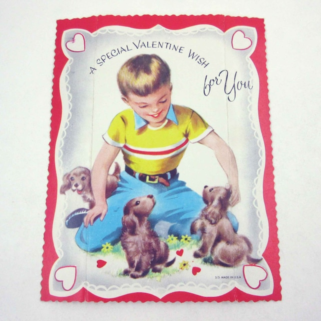 Vintage Large Children's Novelty Valentine Greeting Card with Cute Little Boy and Dogs Puppies