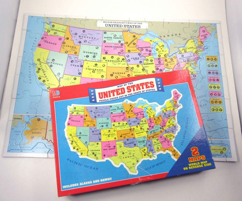 Vintage Map Puzzle of the United States by Milton Bradley in | Etsy