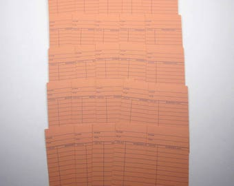 Orange and Blue Library Borrower's Check Out Cards Set of 25