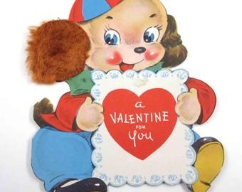 Vintage Children's Novelty Valentine Greeting Card with Cute Dog Puppy Holding Heart Card Real Fur Ear