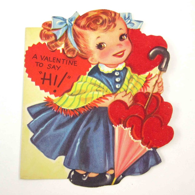 Vintage Children's Valentine Greeting Card with Cute Girl in Dress Holding Parasol with Flocked Hearts by A-Meri-Card