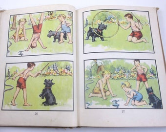 At Play Vintage 1940s Children's School Reader or Textbook by John C. Winston Co. with Scottie Dog Throughout