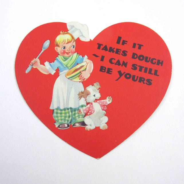 Vintage 1940s Children's Valentine Card with Cute Little Boy in Apron Chef Hat Cooking with Bowl Spoon and Dog